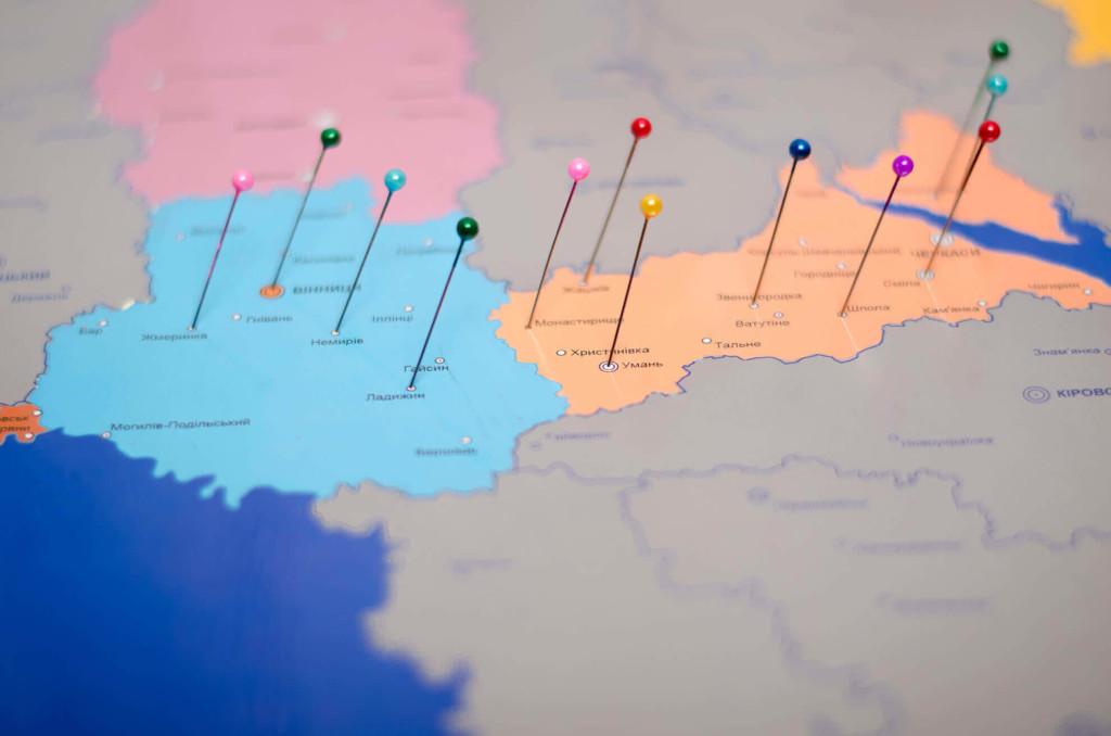 Карта Украины со стирающимся слоем