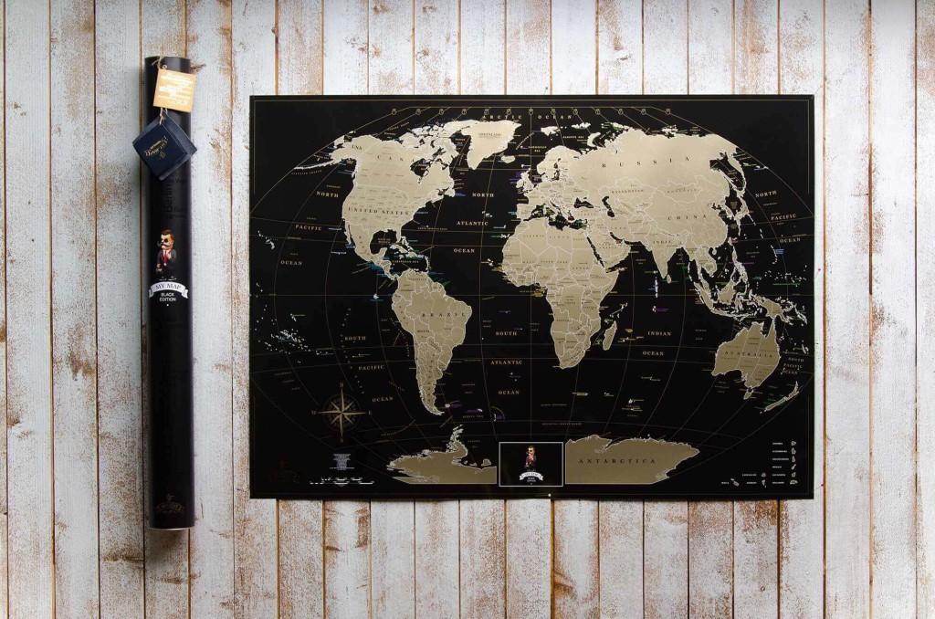 Черная скретч карту мира на подарок