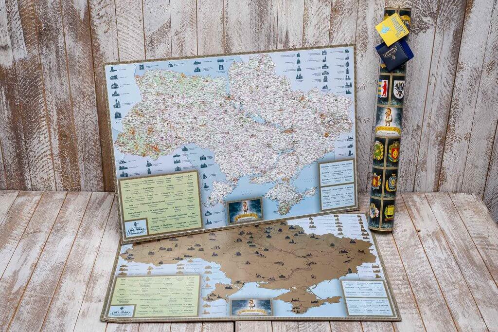 Подарок скретч карта Украины в тубусе