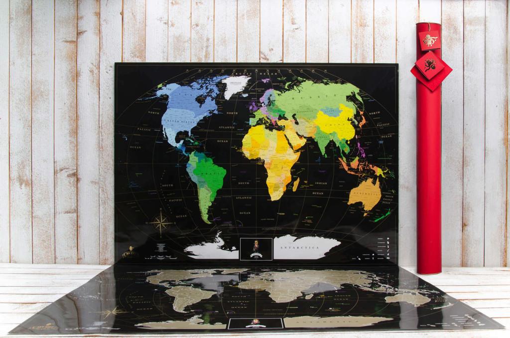 скретч карта мира черная в наборе инлав