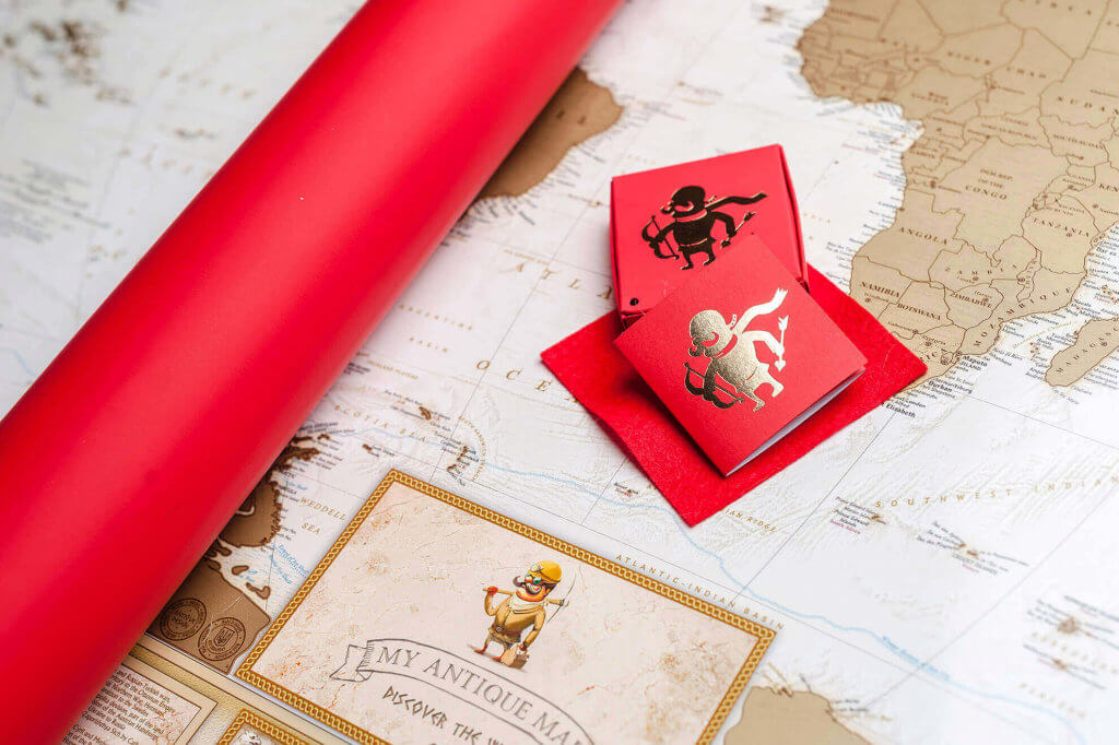 стильная античная карта в тубусе
