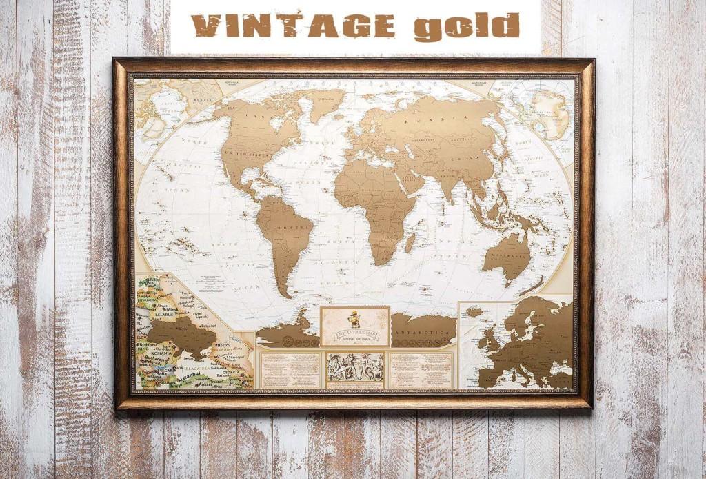Античная карта мира в раме My Map