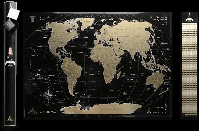 Скретч карта світу My Map Black Gold edition ENG в тубусі + безкоштовний постер з прапорами