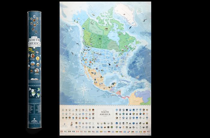 Скретч карта яка світиться Північної Америки My Map North America edition ENG в тубусі
