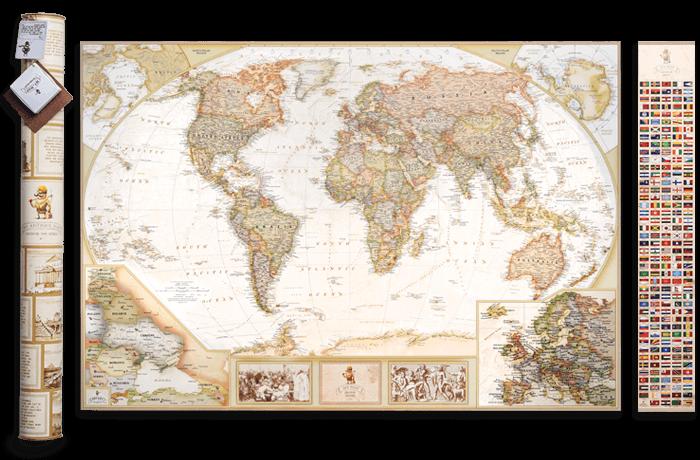 Скретч карта мира 3 в 1 My Map Antique edition ENG в тубусе + бесплатный постер с флагами