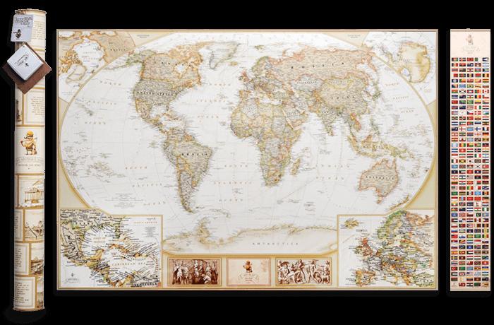 Скретч карта світу 3 в 1 My Map Antique edition (CARIBBEAN) ENG в тубусі + безкоштовний постер з прапорами