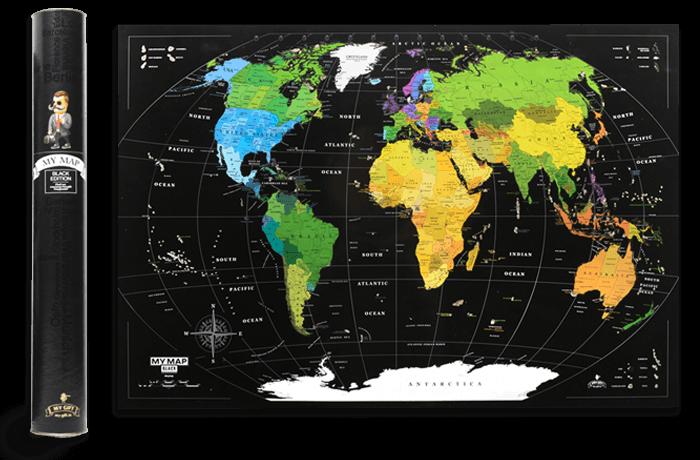 Скретч карта мира My Map Black edition mini в тубусе