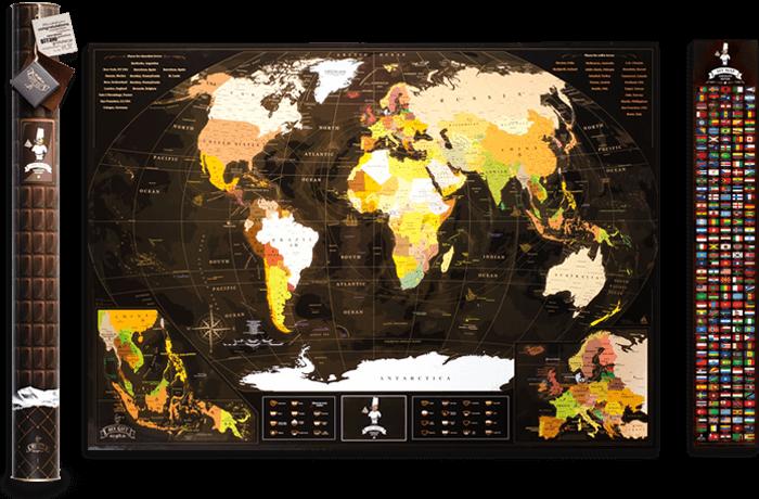 Скретч карта мира 3 в 1 My Map Chocolate edition ENG в тубусе
