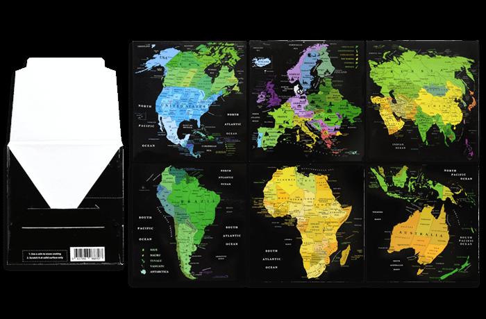 Набор скретч открыток «Карта Мира» в подарочном конверте