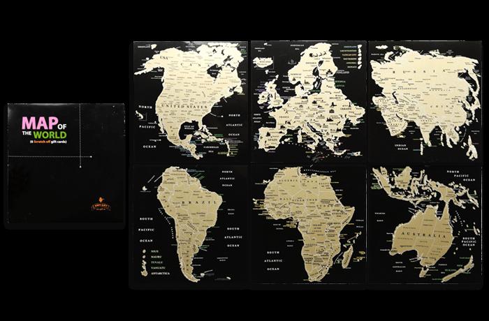 Набір скретч листівок «Карта світу» в подарунковому конверті