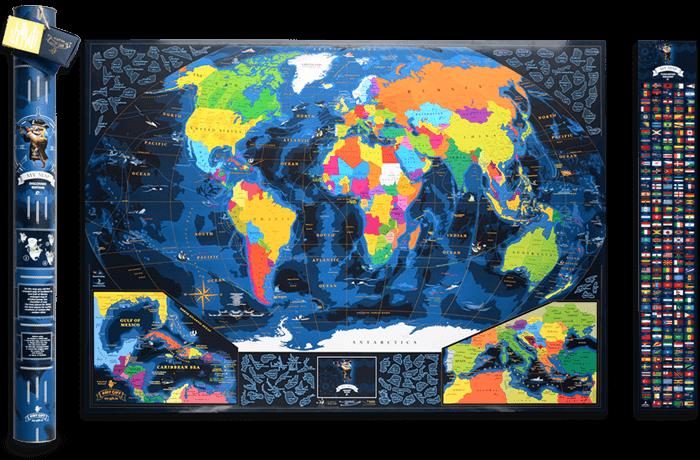 Морська скретч карта світу My Map Discovery edition ENG в тубусі + безкоштовний постер з прапорами