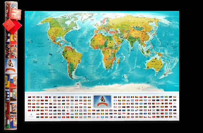 Скретч карта світу My Map Flags edition UKR/RUS/ENG в тубусі
