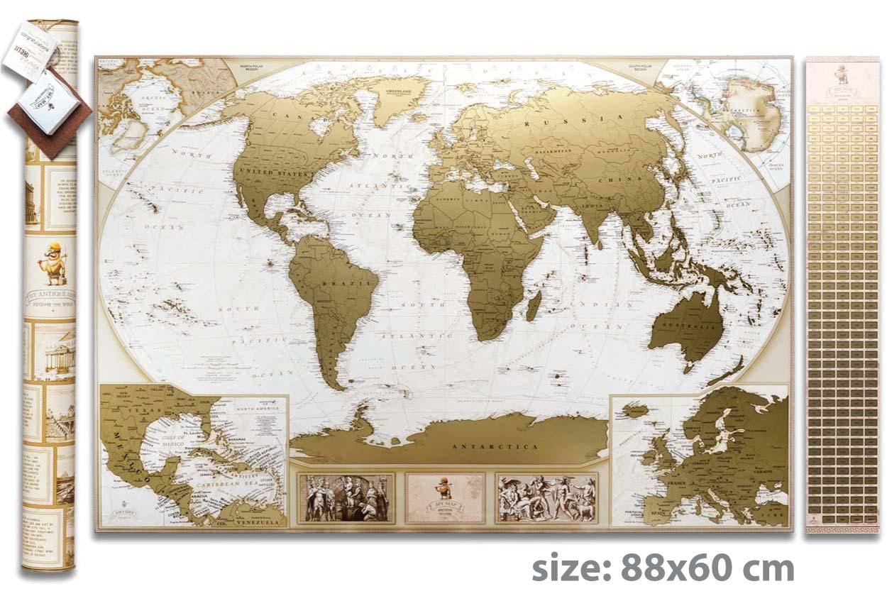 Скретч карта мира 3 в 1 My Map Antique edition (CARIBBEAN) ENG в тубусе + бесплатный постер с флагами
