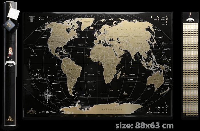 Скретч карта мира My Map Black Gold edition ENG в тубусе + бесплатный постер с флагами