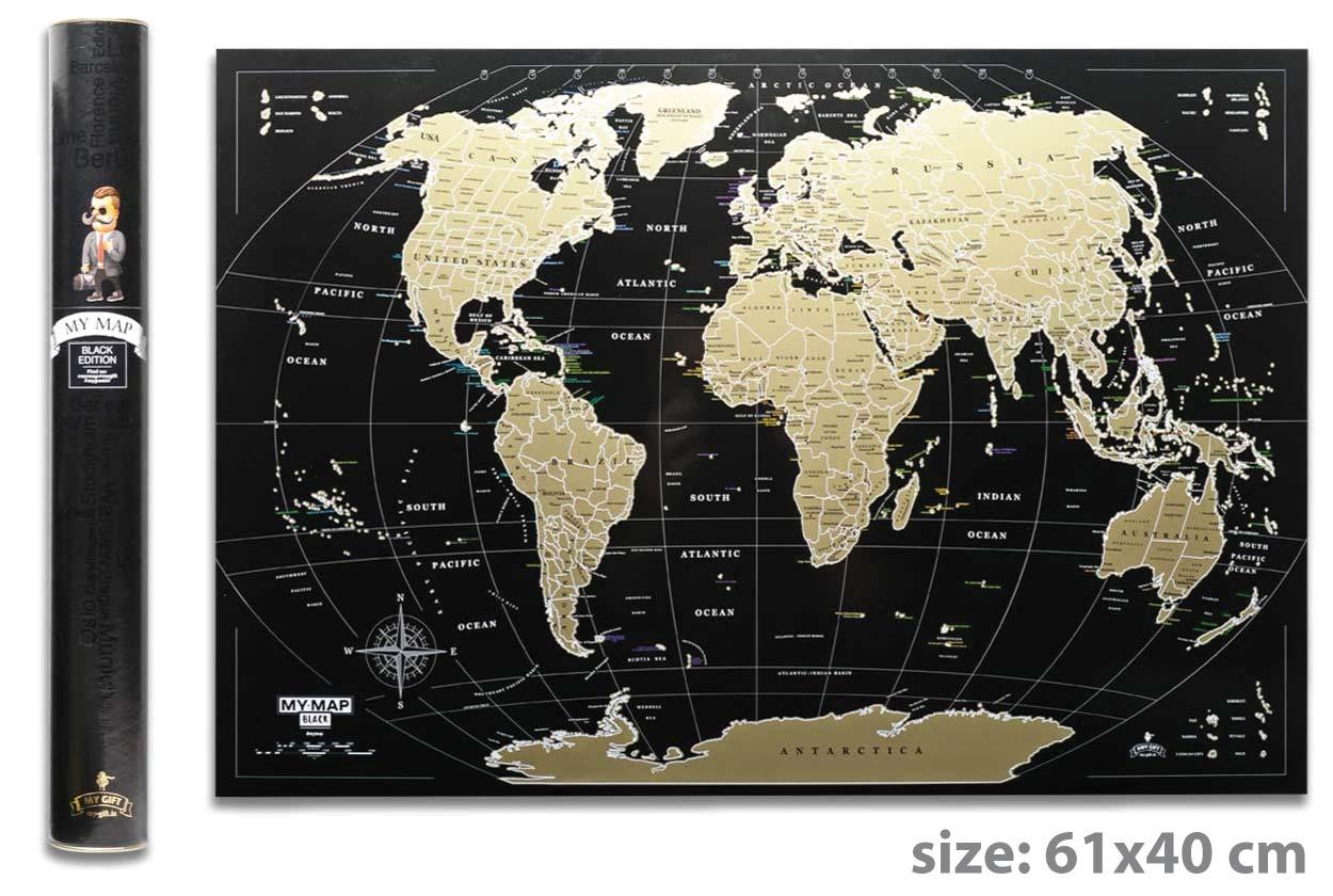 Скретч карта мира My Map Black MINI edition ENG в тубусе