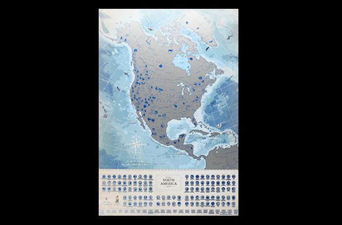 Светящаяся cкретч карта Северной Америки My Map North America edition ENG в тубусе
