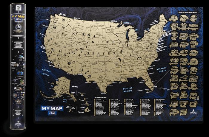 Скретч карта Сполучених Штатів Америки My Map USA edition в тубусі