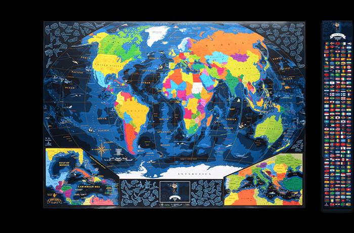 Морская скретч карта мира My Map Discovery edition ENG в тубусе + бесплатный постер с флагами
