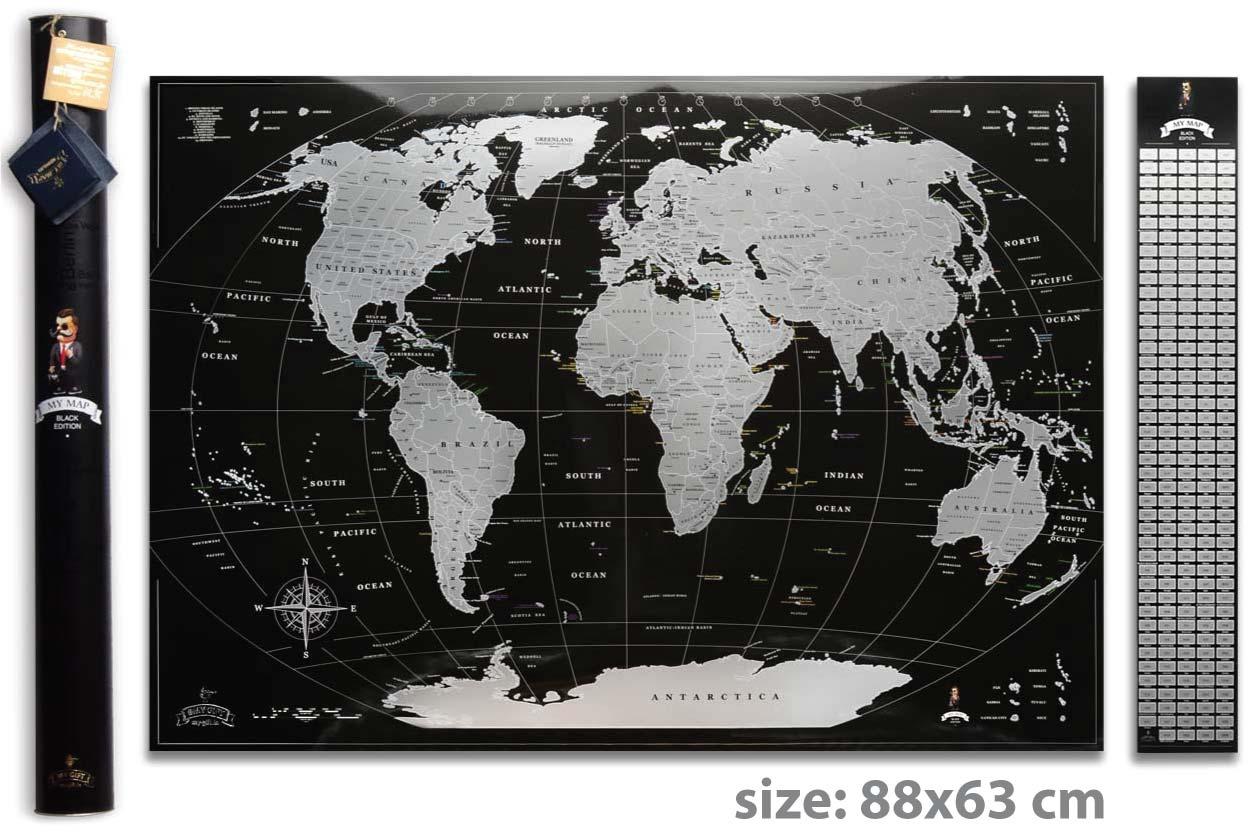 Скретч карта мира My Map Black Silver edition ENG в тубусе + бесплатный постер с флагами