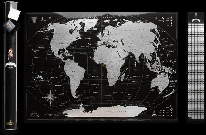 Скретч карта світу My Map Black Silver edition ENG в тубусі + безкоштовний постер з прапорами