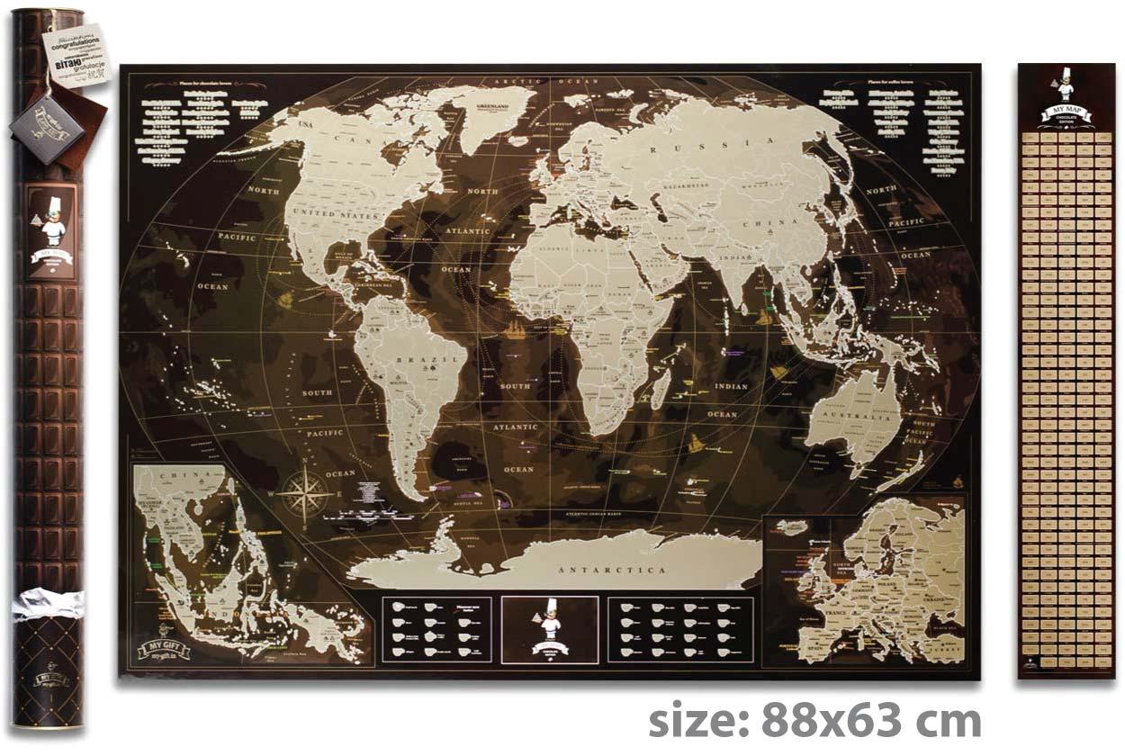 Скретч карта мира 3 в 1 My Map Chocolate edition ENG в тубусе + бесплатный постер с флагами
