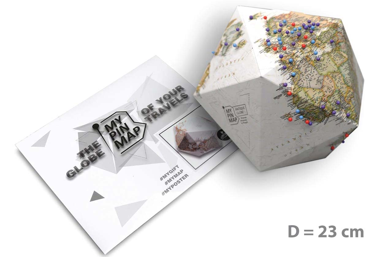 My Pin Map ANTIQUE GLOBE объемный 3D Pin Глобус