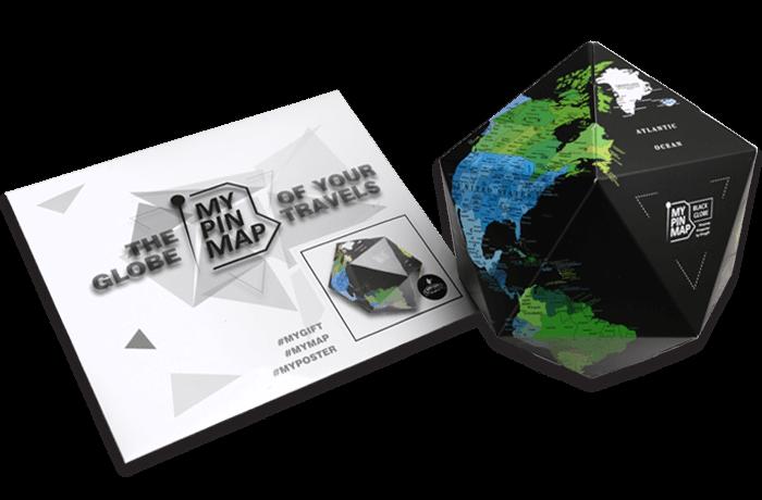My Pin Black Map Globe об'ємний 3D Pin Глобус чорного кольору