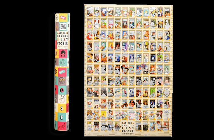 Скретч постер с мультфильмами Cartoons bucket list poster edition